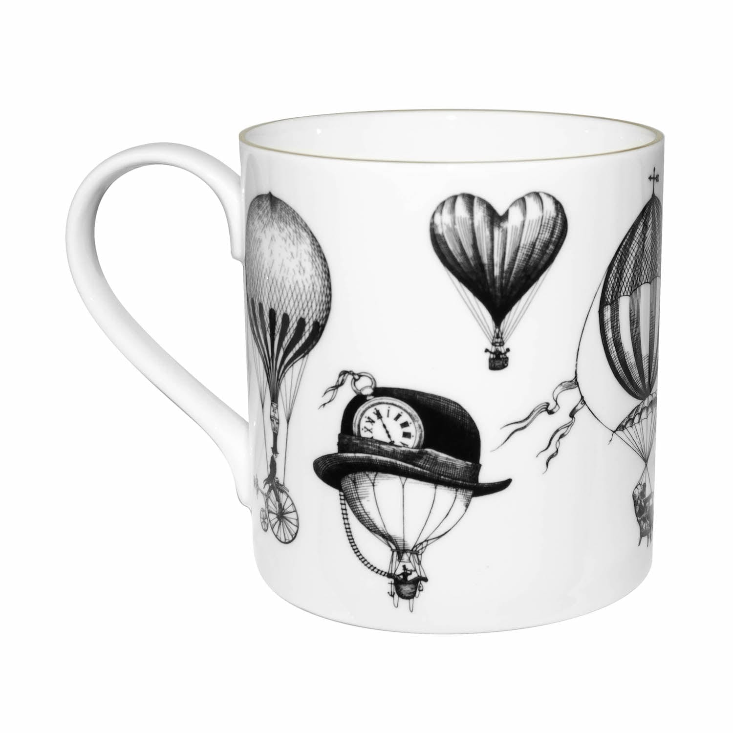 Black and White Balloons design on the mug that made of Fine Bone China