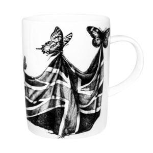 butterflies carrying english flag ink design on white fine bone china mug