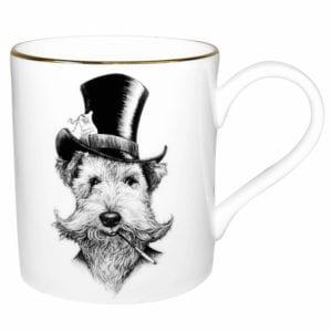 Dog in tophat, black and white ink design on a fine bone china mug