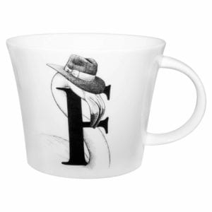 F letter with flamingo wearing a hat in ink design on a white fine bone china mug