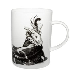 Rabbit wrapped in UK flag ink design on white fine bone china mug