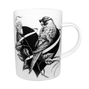 Bird sitting on the heart with sunglasses on ink design on white fine bone china mug