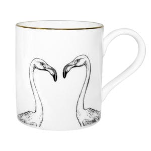Two flamingo heads, looking at each other ink design on a fine bone china mug