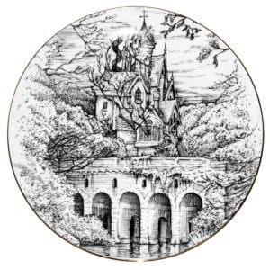 Illustration in black and whiteof inkhouse with view of the bridge