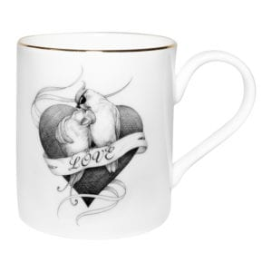 Two birds in the heart shape with love writing. Majestic Mug