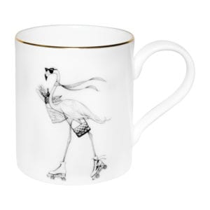 Flamingo on a rollerblades with sunglasses and bag ink design on a fine bone china mug