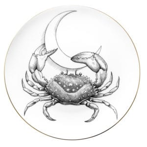 Cancer Crab with Cresent Moon on a plate
