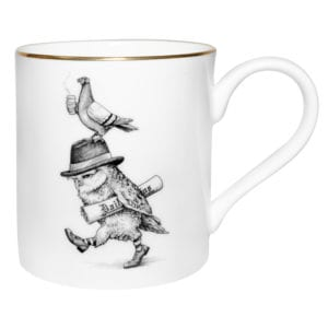 Owl wearing hat design on the mug made from fine bone china