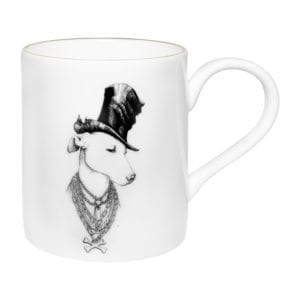 dog wearing top hat on fine bone china majestic mug