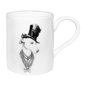 dog wearing top hat on fine bone china majestic mug