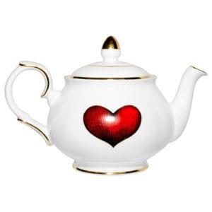 Fine Bone China red love heart teapot
