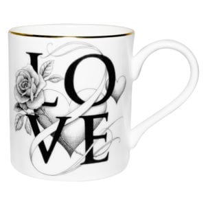 Fine Bone China mug with Love written on it and flower