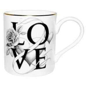 Fine Bone China mug with Love written on it and flower