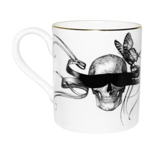 Masked Skull with butterfly Majestic Mug with gold detailing