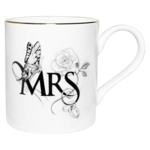 Fine Bone China Mug with Mrs and butterflies design, perfect for weddings