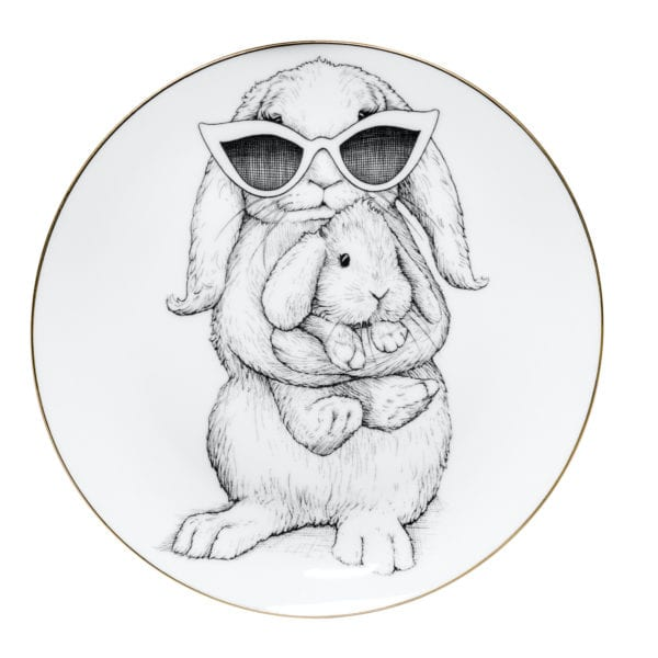 Bunny wearing sunglasses standing holding baby bunny