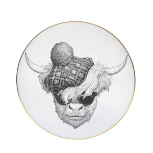 Highland bull with tartan hat and sunglasses