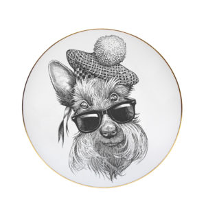 Scottie dog with sunglasses and tartan bobble hat