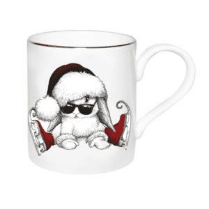 Image of clumsy bunny on ice skates 09002-RCB with red and gold detailing, For Christmas. Majestic Mug