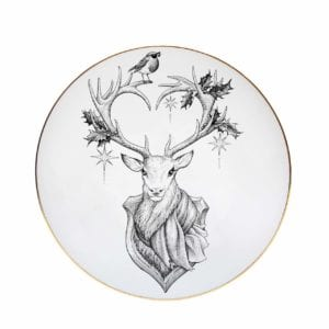 Black and white illustration of Reindeer with antlers in a heart shape decorated with holly and a robin preched on top