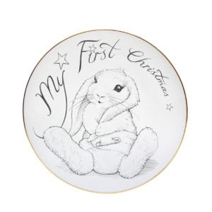 Image of plate with My First Christmas writing with illustration of bunny in a nappy